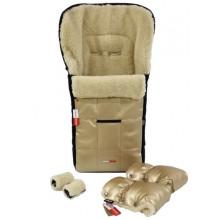 Комплект конверт + муфта рукавички Z&D Zdrowe Dziecko (Польша) зимний на овчине в коляску ЭКО кожа Золото