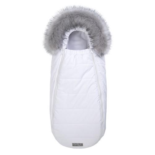 Зимний конверт Флисовый в коляску ДоРечі XS Белый с опушкой на выписку для новорожденного 0-10 мес
