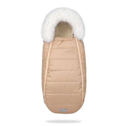 Зимний конверт на овчине в коляску ДоРечі XS Бежевый с опушкой на выписку для новорожденного 0-9 мес