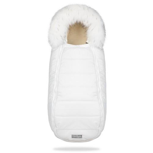 Зимний конверт на овчине в коляску ДоРечі XS Белый с опушкой на выписку для новорожденного 0-9 мес