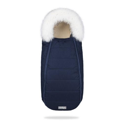 Зимний конверт на овчине в коляску ДоРечі XS Синий с опушкой на выписку для новорожденного 0-9 мес