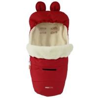 Зимний конверт Кокон Z&D Thermo футмуф от 0 мес чехол в коляску на овчине Красный