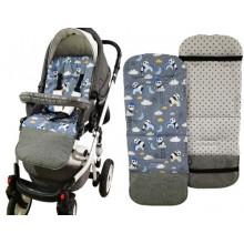 Детский двухсторонний матрас в коляску Z&D дышащий ортопедический Мишки синие