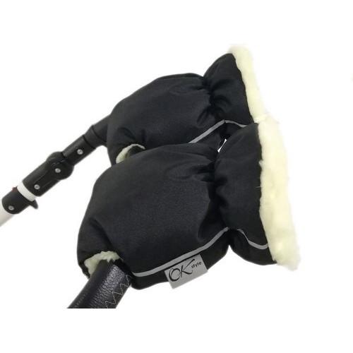 Муфты рукавички со змейкой на коляску на овчине OK style для любой коляски черные