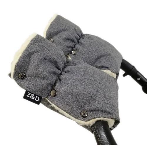 Муфти рукавички Zdrowe Dziecko (Z&D Польща) для рук мами на коляску на овчині Сірий Льон