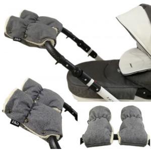 Муфты рукавички Zdrowe Dziecko (Z&D Польша) для рук мамы на коляску на овчине Серый Лен