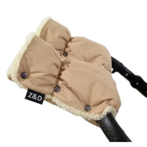 Муфты рукавички Zdrowe Dziecko (Z&D Польша) для рук мамы на коляску на овчине бежевые