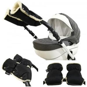 Муфты рукавички Zdrowe Dziecko (Z&D Польша) для рук мамы на коляску на овчине черные