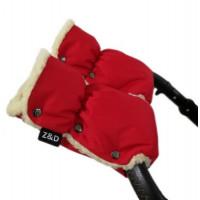 Муфты рукавички Zdrowe Dziecko (Z&D Польша) для рук мамы на коляску на овчине красные