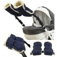 Муфты рукавички Zdrowe Dziecko (Z&D Польша) для рук мамы на коляску на овчине темно-синие